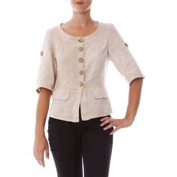 100% lin Beige Collarless Linen Jacket
