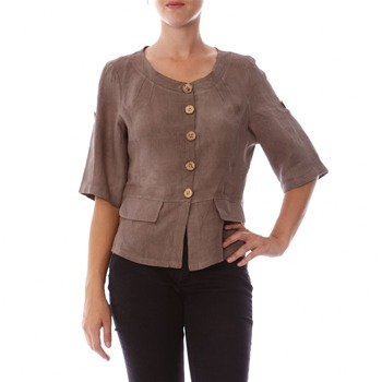 100% lin Taupe Collarless Linen Jacket