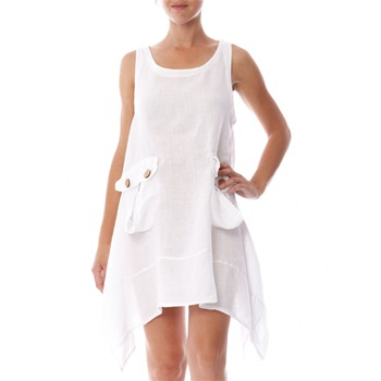 100% lin White A-Line Linen Dress