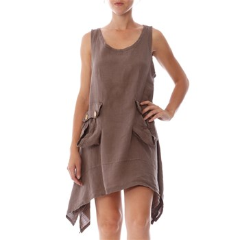 100% lin Taupe A-Line Linen Dress