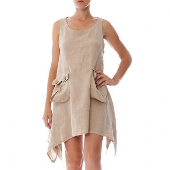 100% lin Beige A-Line Linen Dress