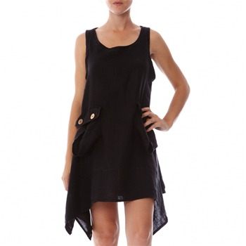 100% lin Black A-Line Linen Dress