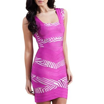 Forever Unique Fuchsia Cerise Knitted Bandage Dress