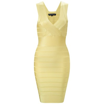 French Connection Yellow Spotlight Bandage Dress
