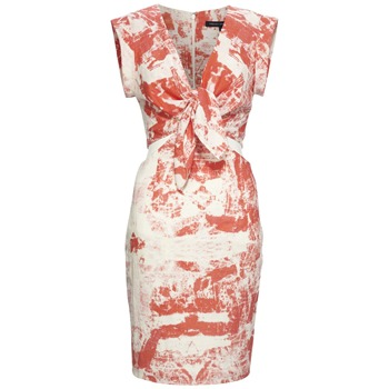 French Connection Orange/White Woodblock Cut-Out Dress