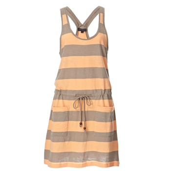 French Connection Taupe/Orange Stripe Jersey Dress