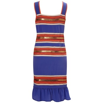 French Connection Blue/Multi Chain Gang Strappy Dress
