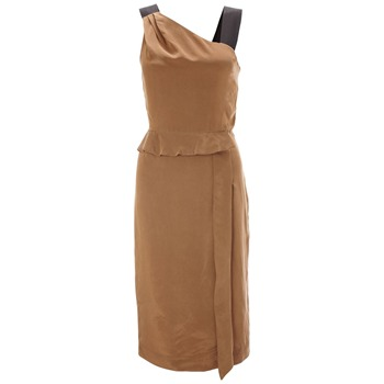 French Connection Tan Oberon Nights Asymmetric Dress