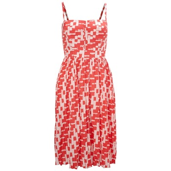 French Connection Red Square Print Silk Blend Dress