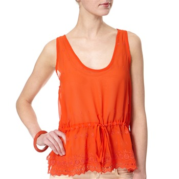 French Connection Orange Cotton Scallop Edge Embroidered Top