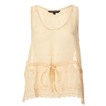 French Connection Nude Scallop Edge Embroidered Top