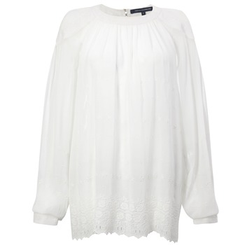 French Connection White Sheer Crepe Embroidered Top