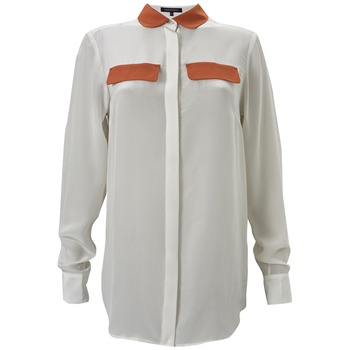 French Connection White/Orange Contrast Silk Shirt