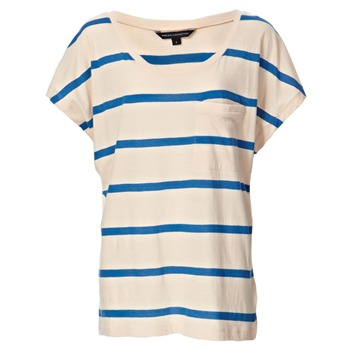 French Connection Peach/Blue Stripe Cotton T-Shirt