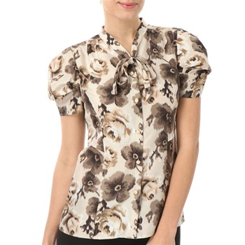Juicy Couture Faded Oyster Floral Silk Shirt