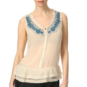Juicy Couture Pale Linen Beaded Neck Frill Top