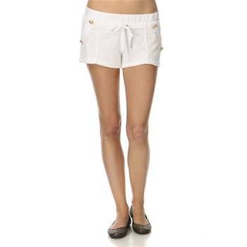 Juicy Couture White Button Front Towelling Shorts