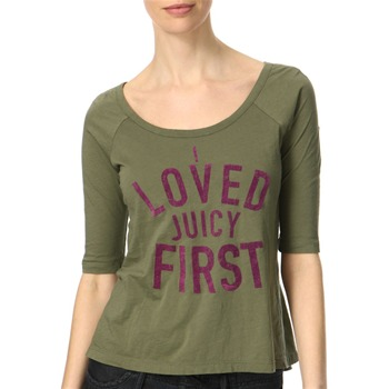 Juicy Couture Camouflage Green Logo Front Jersey Top