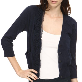 Juicy Couture Navy Cashmere Blend Sheer Cardigan
