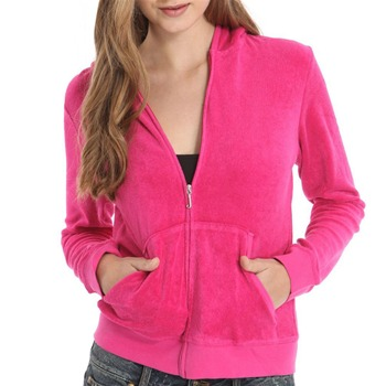 Juicy Couture Fuchsia Terry Cloth Hooded Jacket