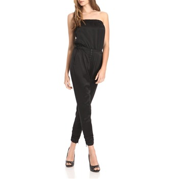 Juicy Couture Black Sleeveless Ruched Satin Jumpsuit