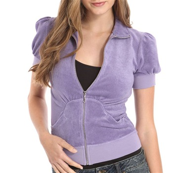 Juicy Couture Purple Terry Cloth Puff Sleeve Jacket