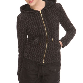Juicy Couture Black Metallic Pattern Terry Cloth Hooded Top