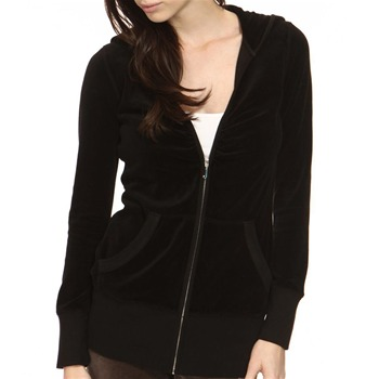 Juicy Couture Black Velour Classic Hooded Top