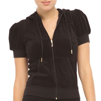 Juicy Couture Black Terry Cloth Hooded Gold Crown Jacket