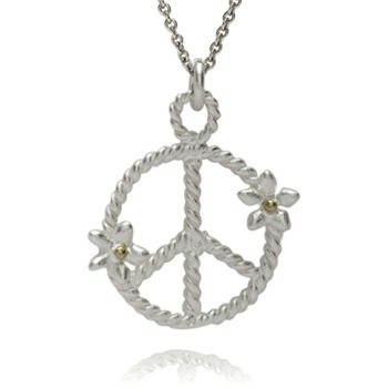 Bijou Bijou Silver/Gold Peace Pendant Necklace