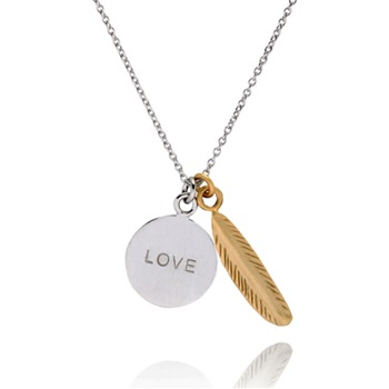 Bijou Bijou Gold/Silver Feather Coin Necklace