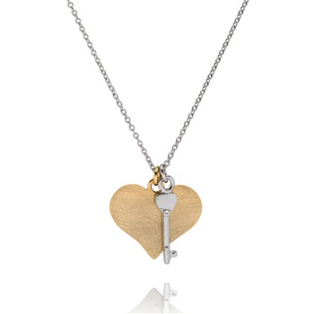 Bijou Bijou Gold/Silver Heart and Key Necklace