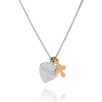 Bijou Bijou Silver/Gold Peace Heart Charm Necklace
