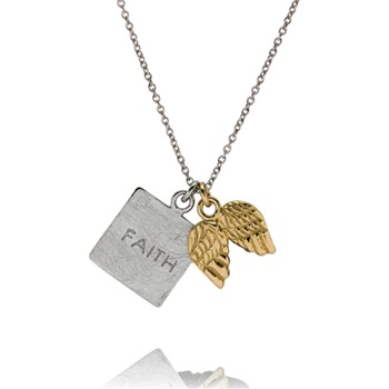 Bijou Bijou Silver/Gold Faith and Wings Charm Necklace