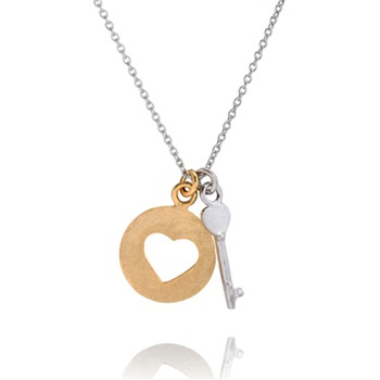 Bijou Bijou Gold/Silver Circle Heart/Key Charm Necklace