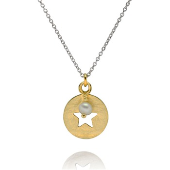 Bijou Bijou Gold Circle Start Charm/Pearl Necklace