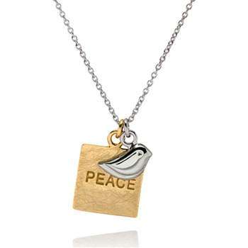 Bijou Bijou Gold/Silver Square Peace Charm Necklace