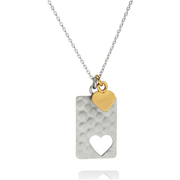 Bijou Bijou Silver/Gold Rectangular Heart Charm Necklace