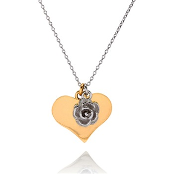Bijou Bijou Gold/Silver Heart/Flower Charm Necklace