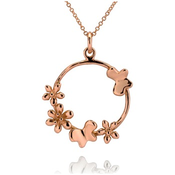 Bijou Bijou Rose Gold Circle Charm Necklace