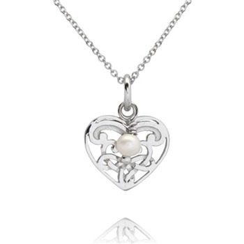 Bijou Bijou Silver/Pearl Filigree Heart Pendant