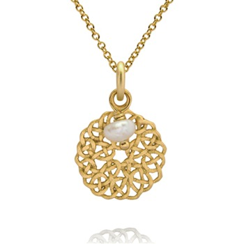 Bijou Bijou Gold/Pearl Twisted Filigree Pendant