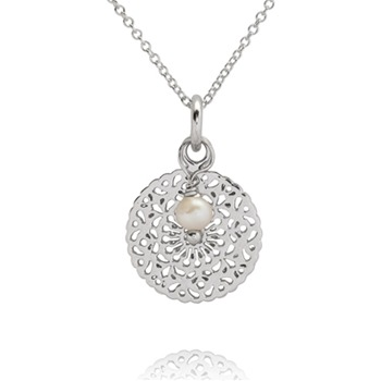 Bijou Bijou Silver Round Filigree Pendant