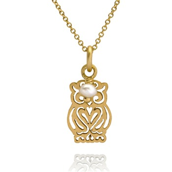 Bijou Bijou Gold Filigree Owl Pendant