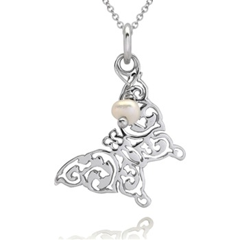 Bijou Bijou Silver/Pearl Filigree Butterfly Pendant