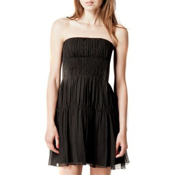 Kookai Black Pleated Bustier Silk Dress