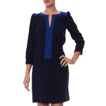 Kookai Navy Contrast Piping Belted Dress