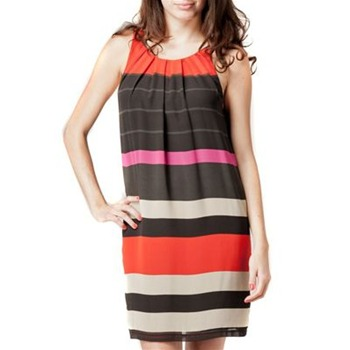 Kookai Orange/Multi Bold Stripe Shift Dress