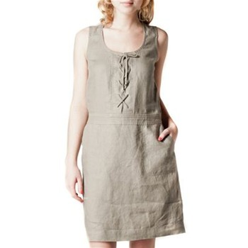 Kookai Khaki Laced Up Linen Dress