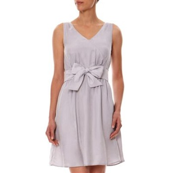 Kookai Pale Grey Tie Waist Cupro Dress